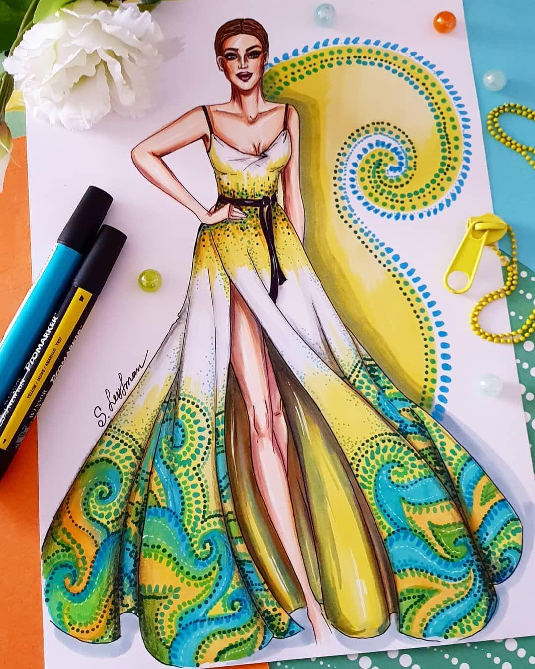 Sveta Slobodov Leyfman On Instagram What About Bright Summer Colors I Fashion Illustration Sketches Dresses Fashion Design Sketches Fashion Design Sketchbook