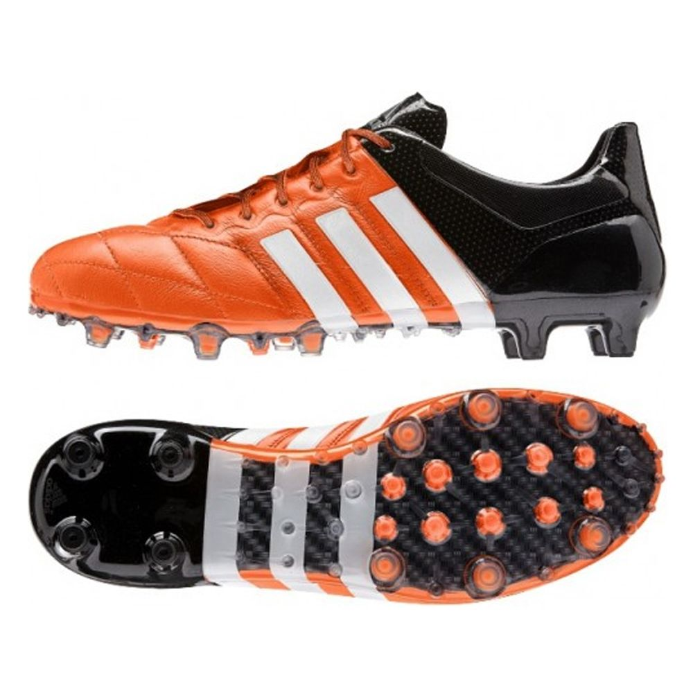 2f99e82b0 SALE  129.95 - Adidas ACE 15.1 FG AG (Leather) Soccer Cleats (Black White Solar  Yellow)