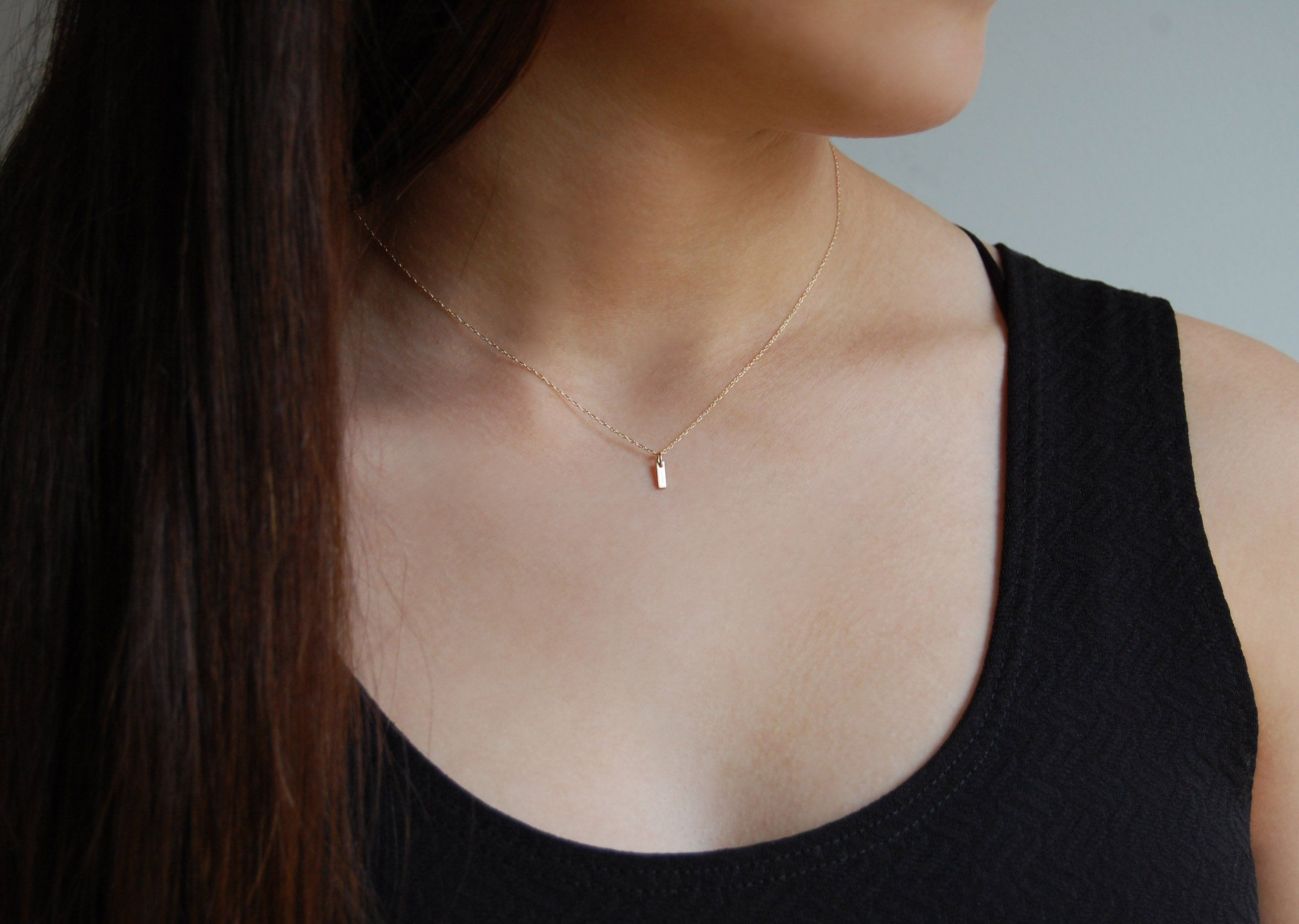 Dainty Gold Necklace 14k Yellow Gold Necklace Solid Gold Etsy Dainty Gold Necklace 14k Dainty Gold Necklace Solid Gold Necklace