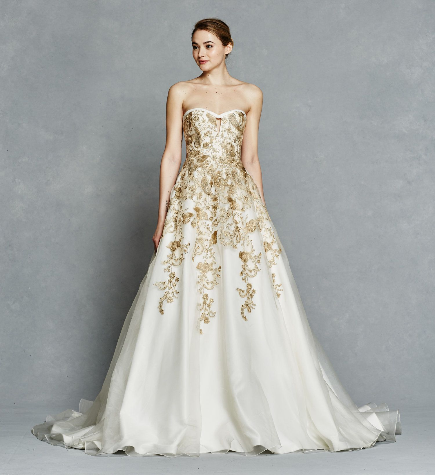 Silk organza strapless ball gown with notch neckline detailed with