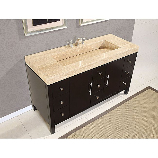 silkroad 60-inch travertine top bathroom vanity, roman vein-cut