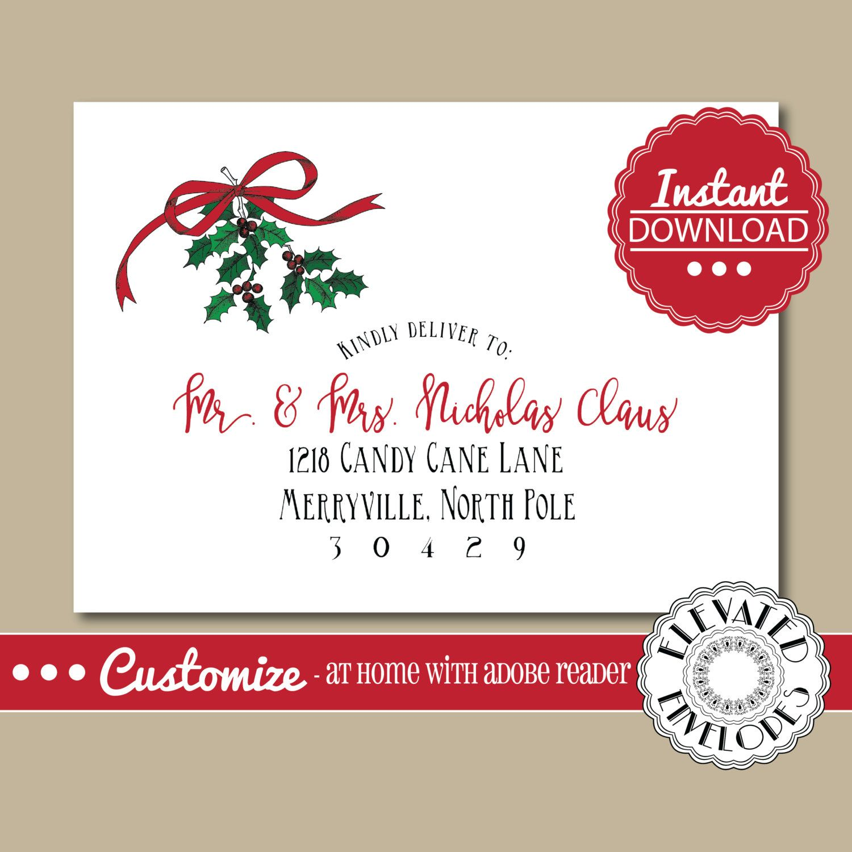 EDITABLE Christmas ENVELOPE Template,Christmas Envelope