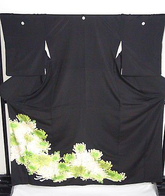 JAPANESE KIMONO TOMESODE EMBROIDERY, 5 CREST,150cm, SILK, GREEN, FROM JAPAN