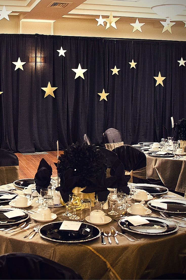 Black Backdrop With Gold Stars Xmas Decorations Backdrops