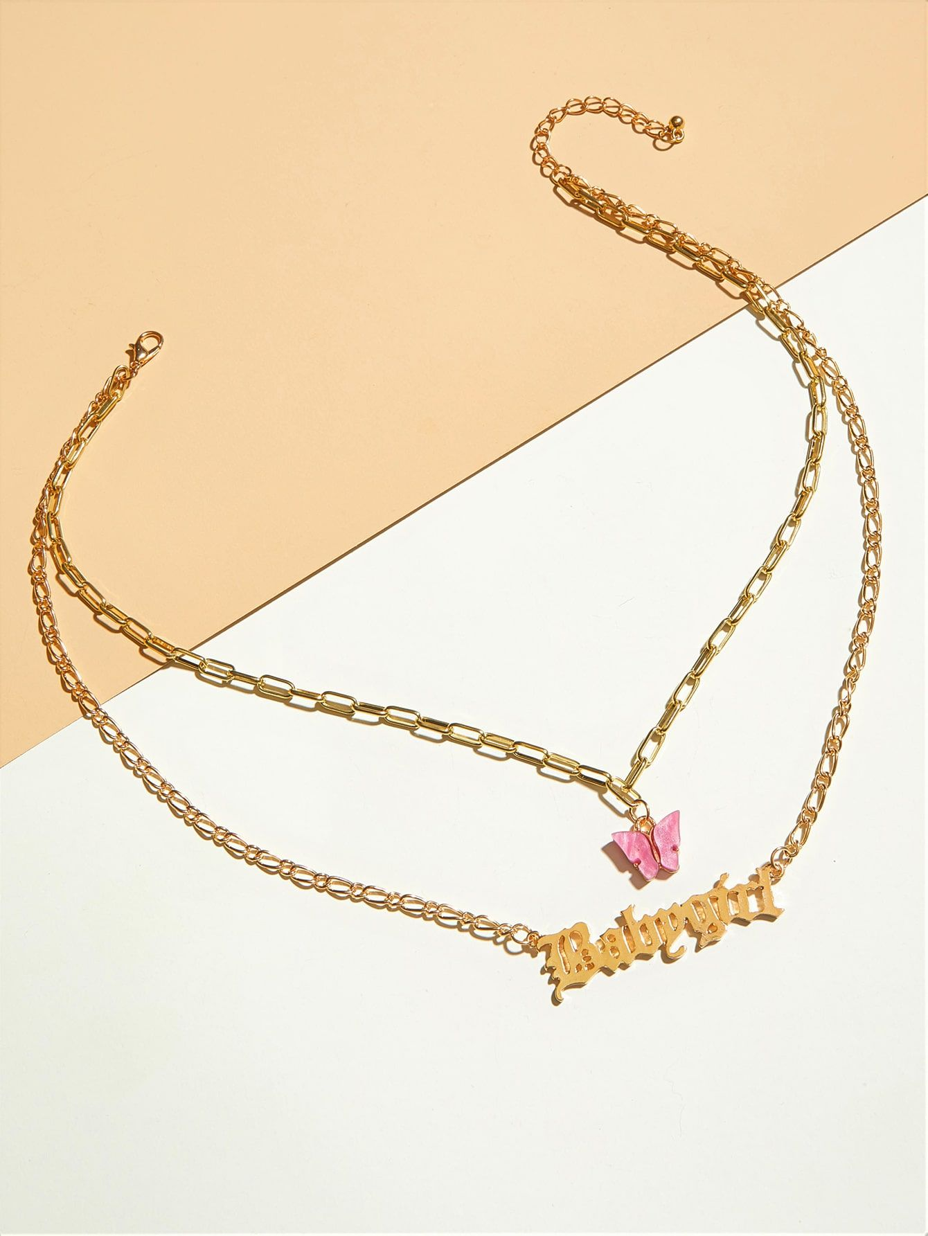 1pc butterfly letter charm layered necklace in 2020