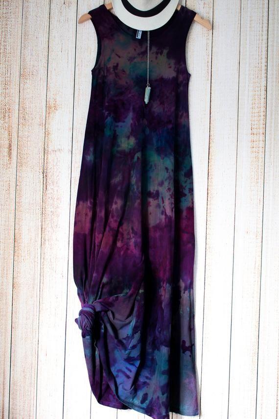 Photo of Items similar to Violet Tie dye floral Maxi Dress Size Small, boho dress plus size organic cotton hippie clothes beach wedding dress bohemian floral on Etsy