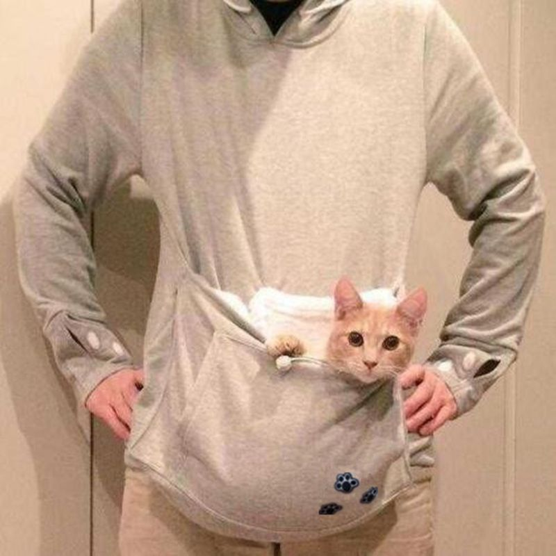 Japanese Kangaroo Big Pocket Grey Cat Dog Pet Casual Hoodie - Hoodie with kangaroo pouch is the perfect cat accessory