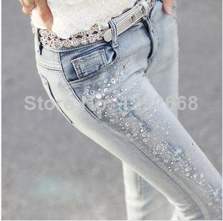 2014 Nuevos Pantalones Vaqueros De La Marca 100 La Mujer Denim De Algodon Pantalones De Moda Tamano Famoso En De En Jeans De Moda Pantalones De Encaje Ropa