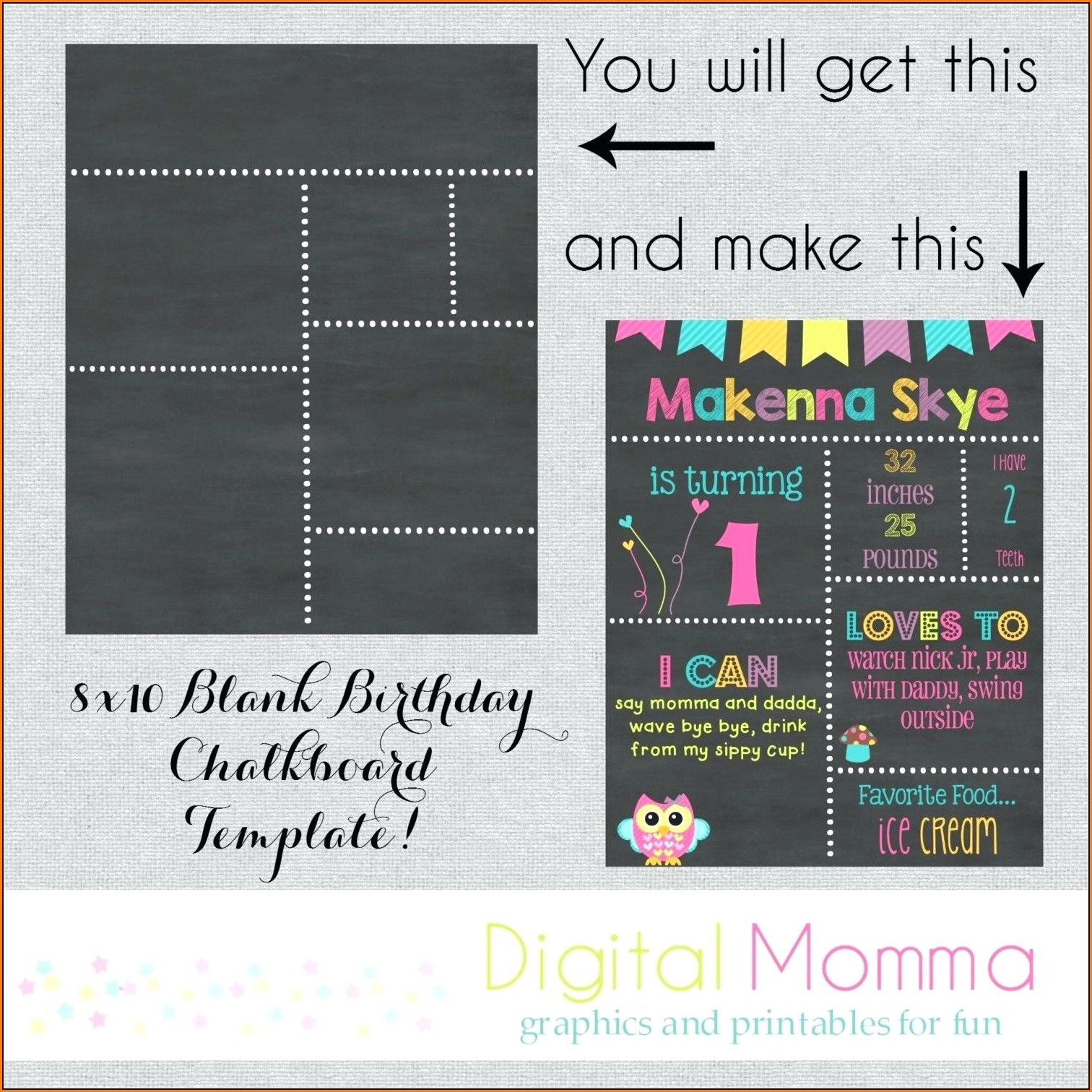 1st birthday chalkboard sign template