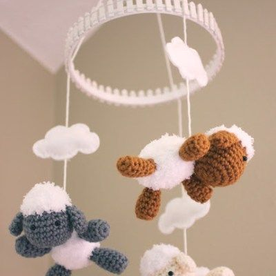 Crochet Lamb Pattern and Baby Mobile