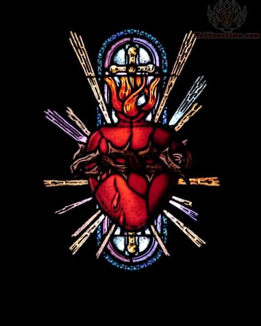 Sacred heart google search stained glass pinterest for Tattoos catholic church