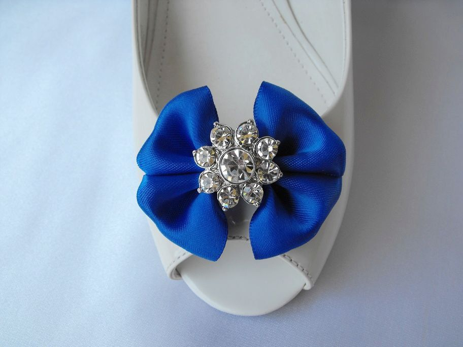 Handmade bow shoe clips with rhinestone center bridal shoe clips wedding accessories in royal blue. $18.00, via Etsy.