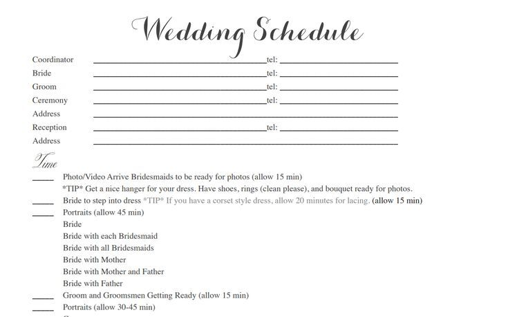 Free Wedding Itinerary Templates To Help Plan Your Big Day - Day of wedding timeline template free