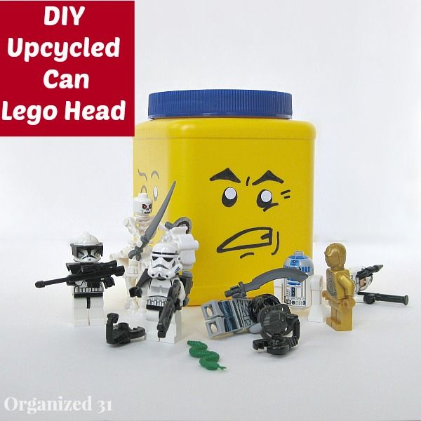 Diy Repurposed Can Lego Head Toy Storage Solutions Toy