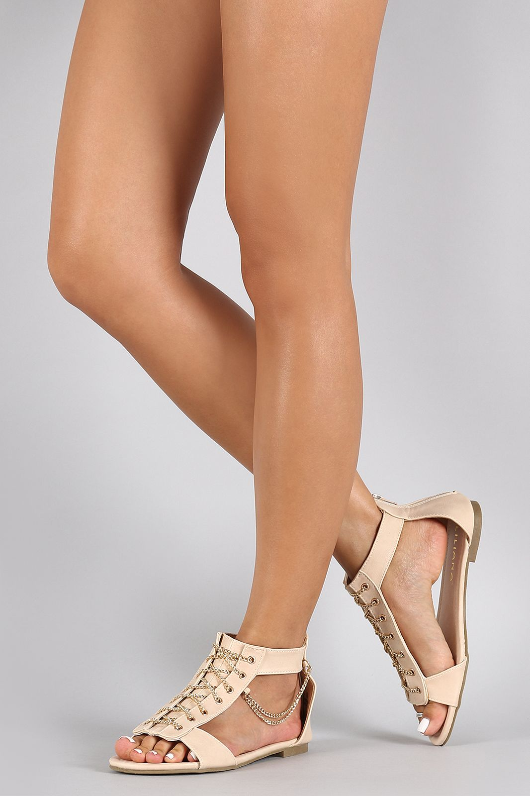 Madden Girl Sandals Nude Natural Zoeyy Wedge Strappy Size
