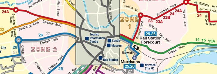Norwich Bus Routes Map Norwich bus routes map: from 2016 09 01 | FirstBus | Norfolk | Bus