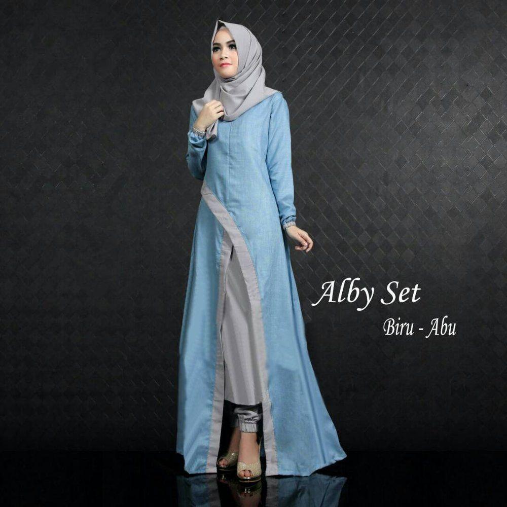 Model Gamis Warna Biru Kombinasi  Biru, Baju muslim, Model