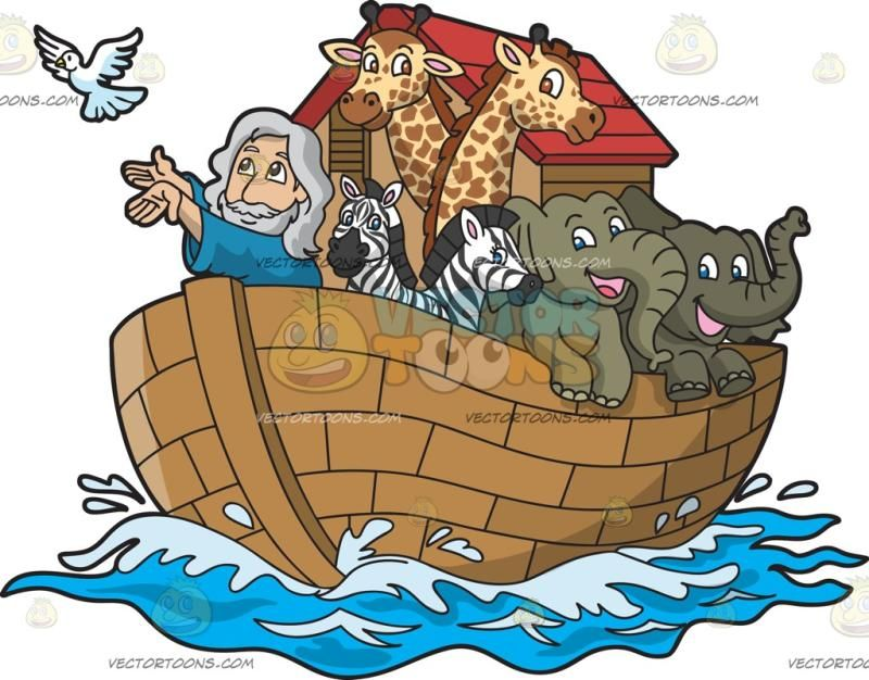 Noah In His Ark Filled With Animals Animal Clipart Boat Illustration Animals