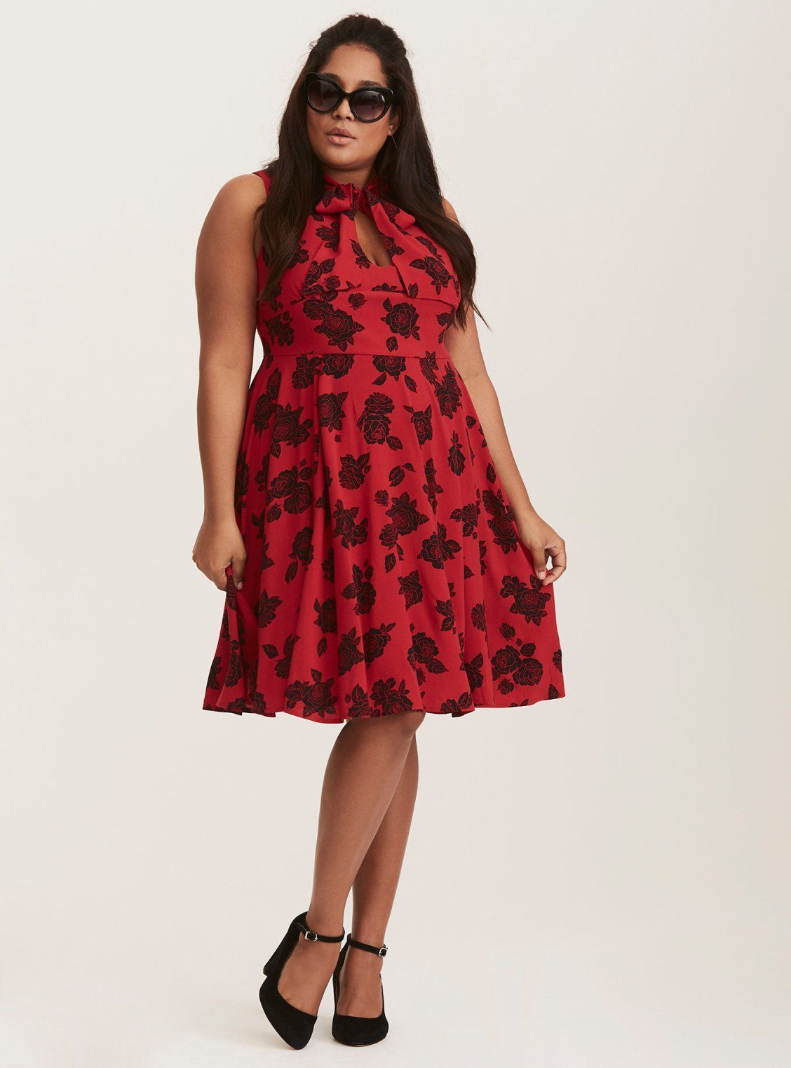62fcee9a38991 Retro Chic Red   Black Floral Print Tie Neck Skater Dress   Torrid   Plus  Size   Holiday