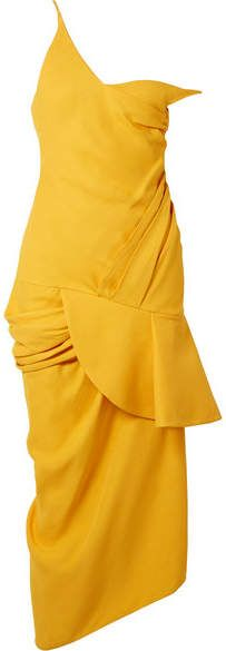 Cheap Online Cheap La Robe Sol Off-the-shoulder Ruffled Canvas Midi Dress - Mustard Jacquemus Best Place To Buy VY9Hey1zr