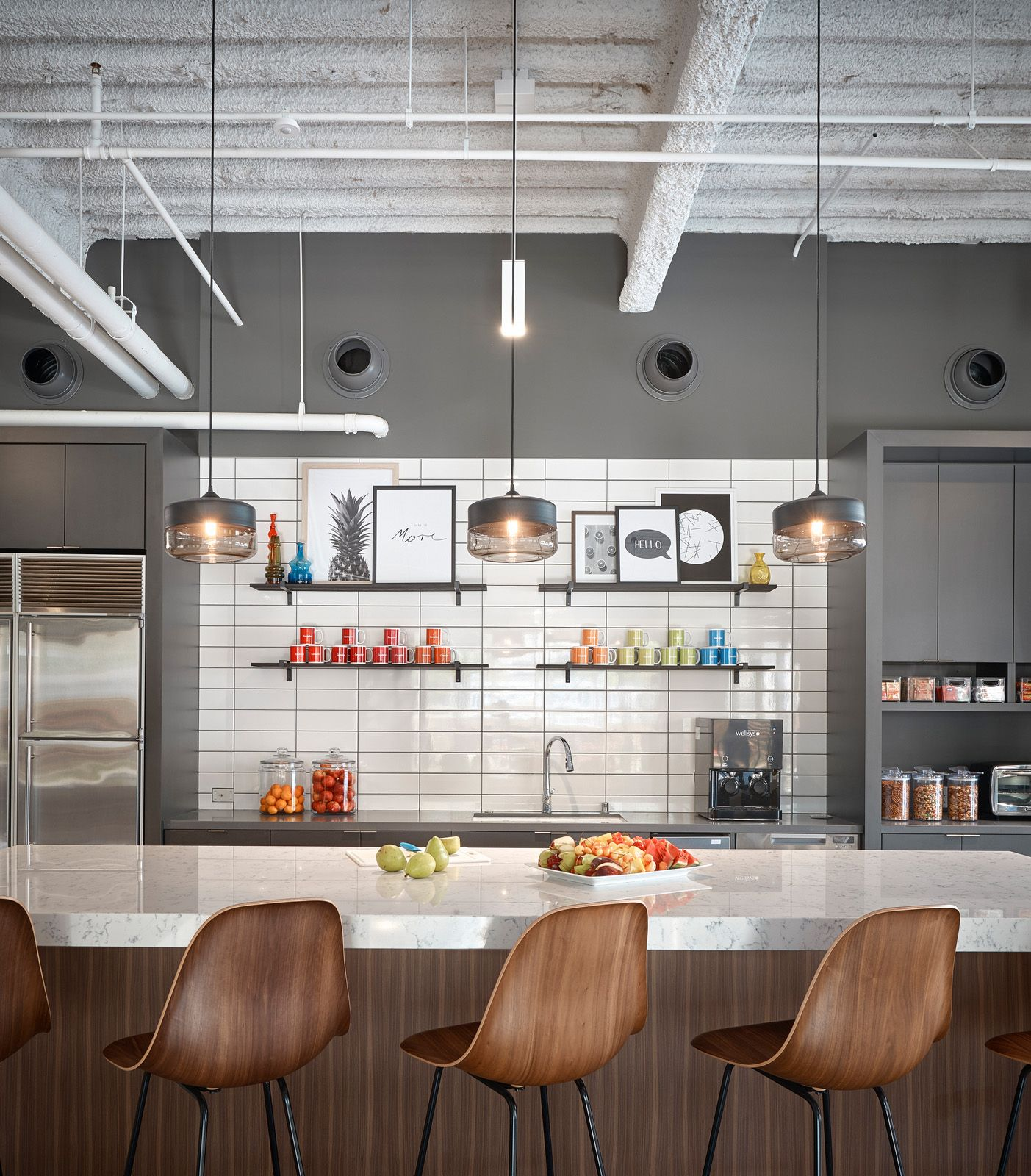 Gensler offices san diego colorful decorative modern office kitchen with open shelving