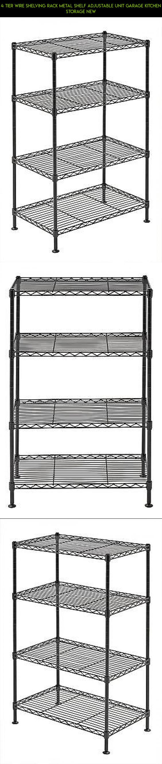 4 Tier Wire Shelving Rack Metal Shelf Adjustable Unit Garage Kitchen ...
