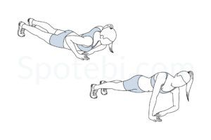 Asymmetrical push up exercise guide with instructions, demonstration, calories burned and muscles worked. Learn proper form, discover all health benefits and choose a workout. http://www.spotebi.com/exercise-guide/asymmetrical-push-up/