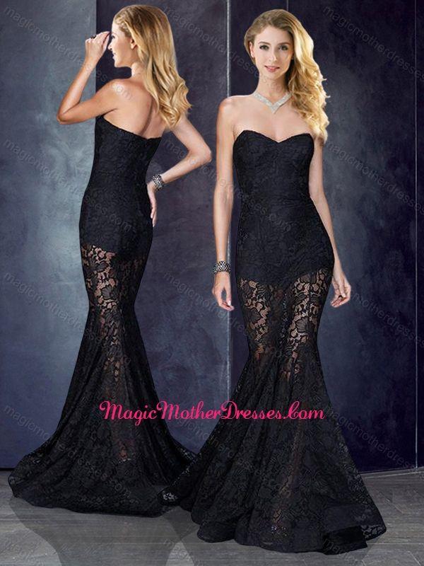 Short Inside Long Outside Mermaid Black Prom Dress in Lace