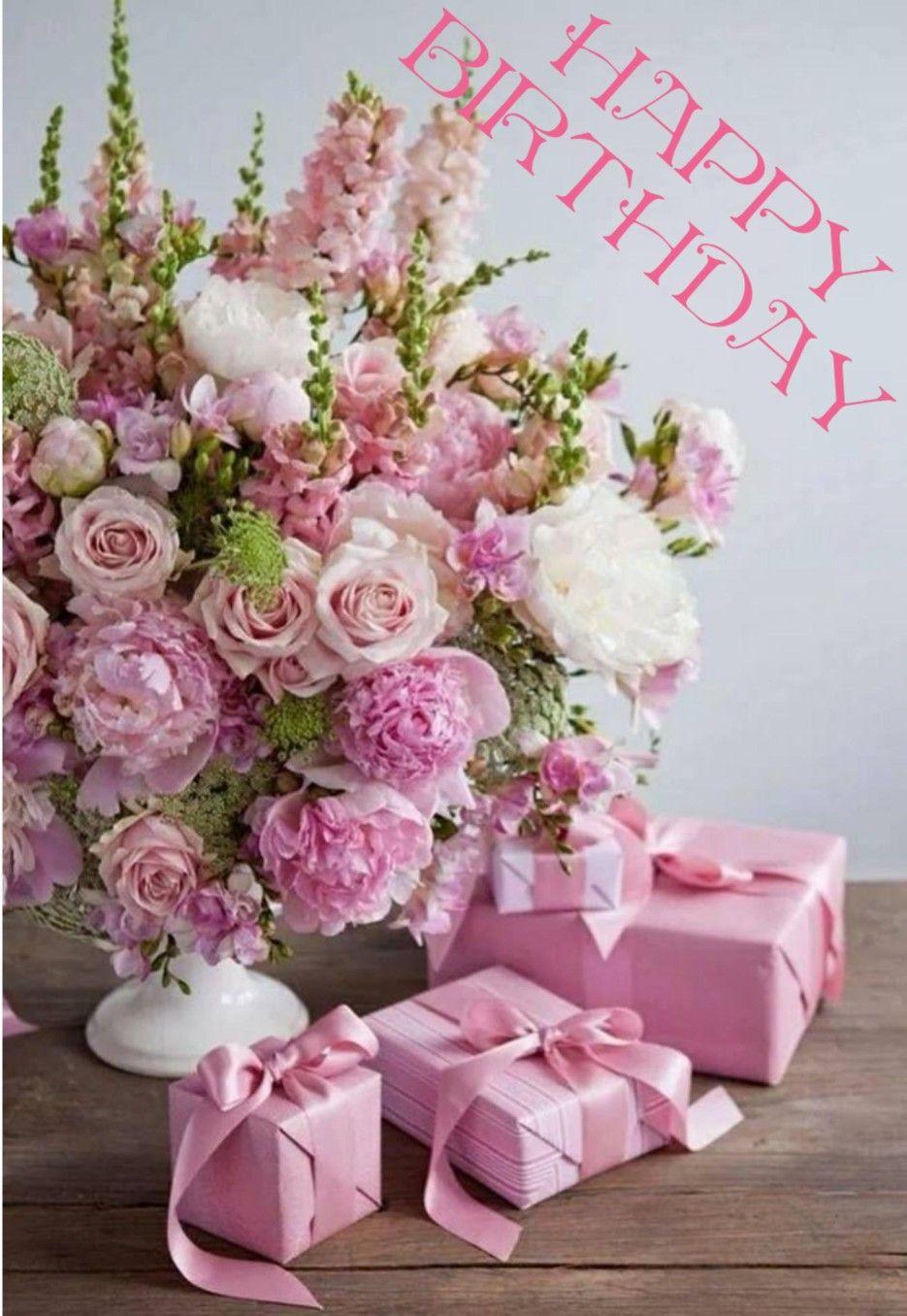 Happy birthday pink flower arrangements birthday
