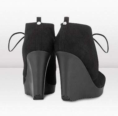 """Jimmy Choo - Baxter - 365baxterbsue - Black Suede Wedge Ankle Boots - Contemporary and stylish; these lace up wedges are a modern take on a classic European espadrille design. Heel measures approximately 110mm/4.3"""" with a 20mm/0.8 """" platform."""