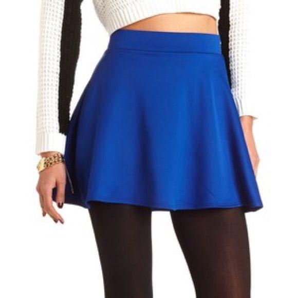 Royal blue skater skirt Royal blue flared mini skirt. Size small. 95% polyester 5% spandex. Zipper down entire center back. NWOT trades Skirts Circle & Skater