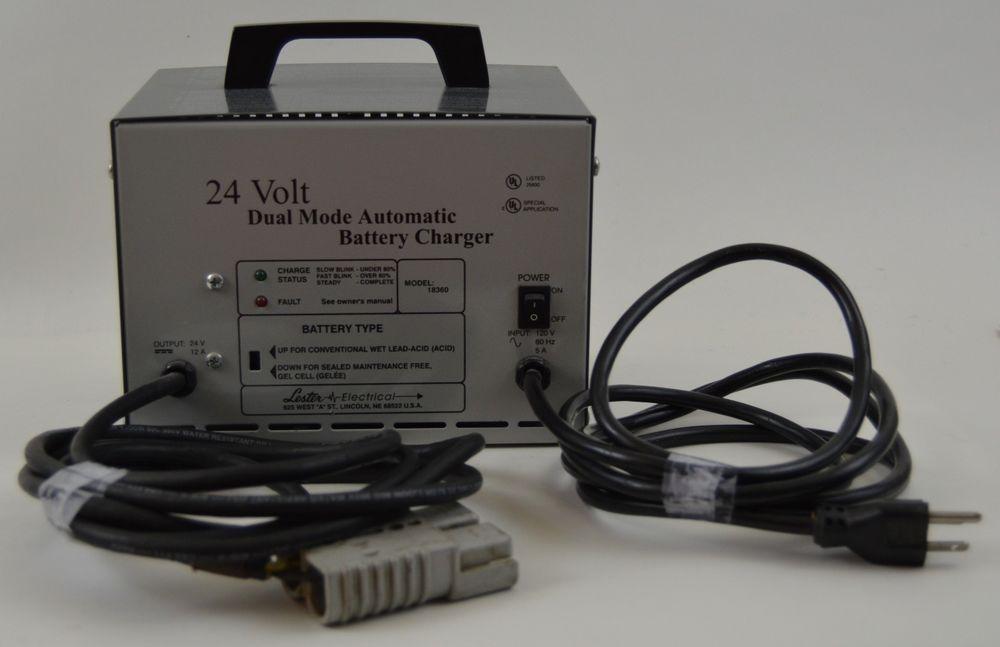 Lester Electrical Model 18360 24 Volt 12 Amp Dual Mode Automatic Battery Charger Automatic Battery Charger Battery Charger Forklift