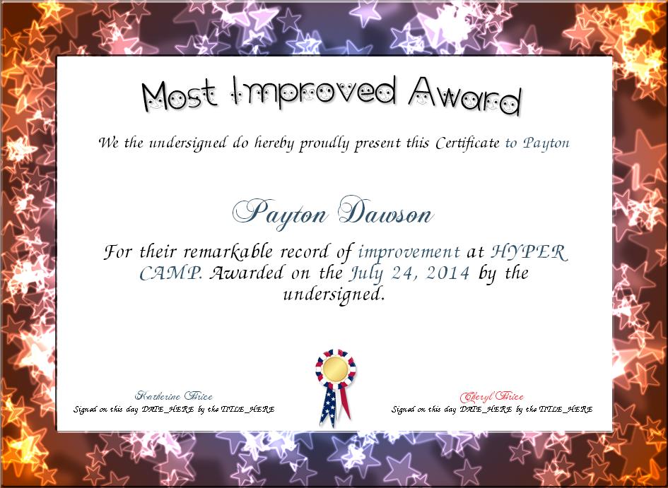 Image Result For Most Improved Award Certificate July