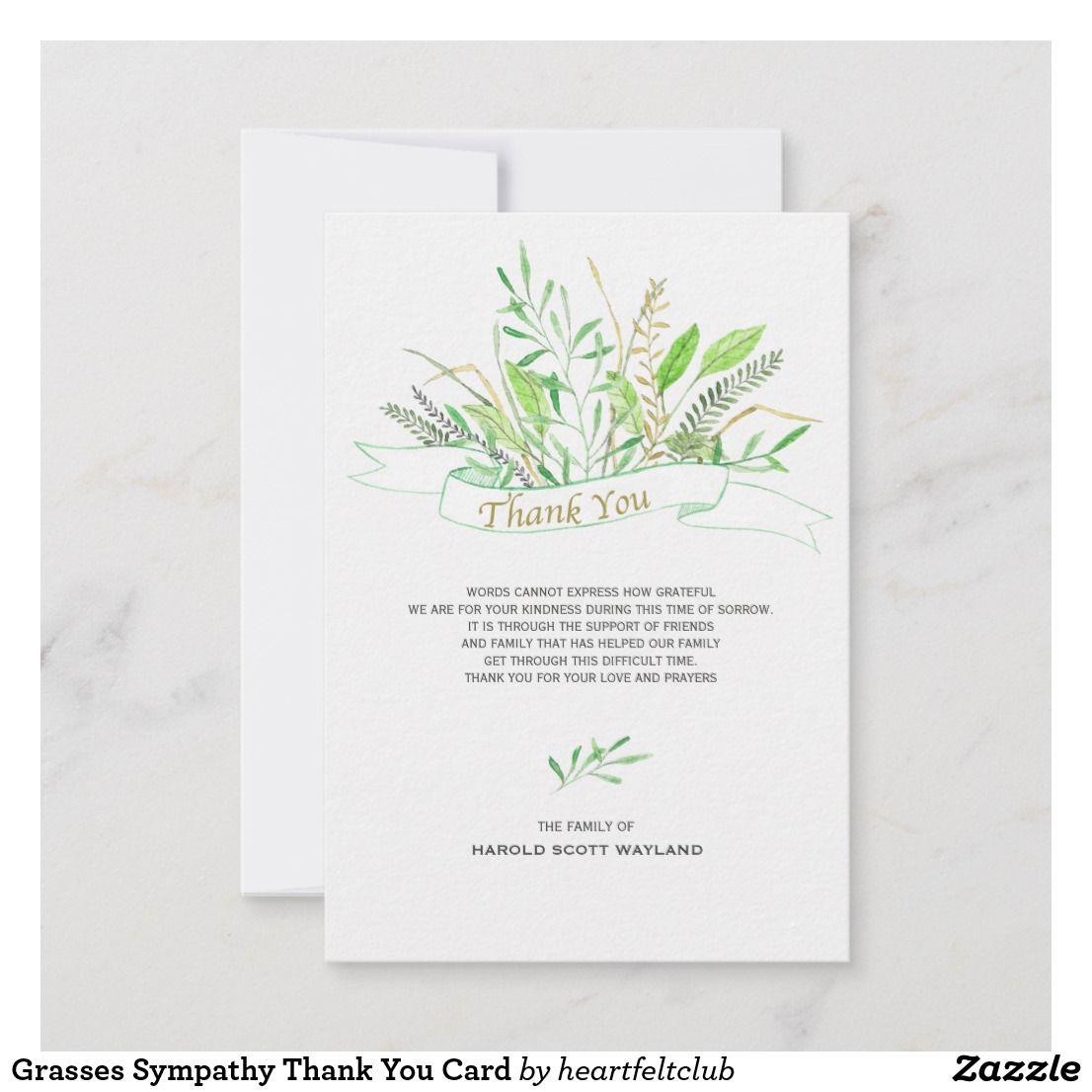 Grasses sympathy thank you card