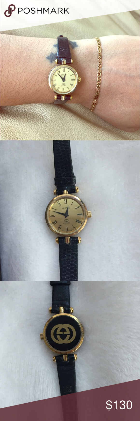 4b50db91a11 Ladies Gucci 2000 M Watch Authentic!! Vintage. Preowned condition. New  battery and runs great. 18 K gold plated swiss 2000 M black enamel with  saphire ...
