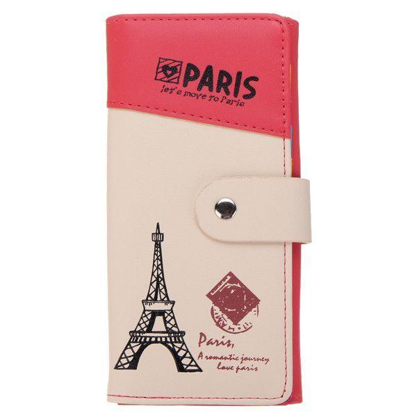 Women Girl Eiffel Tower Hasp Purse Short Wallet Card Coin Holders Clutch Handbag
