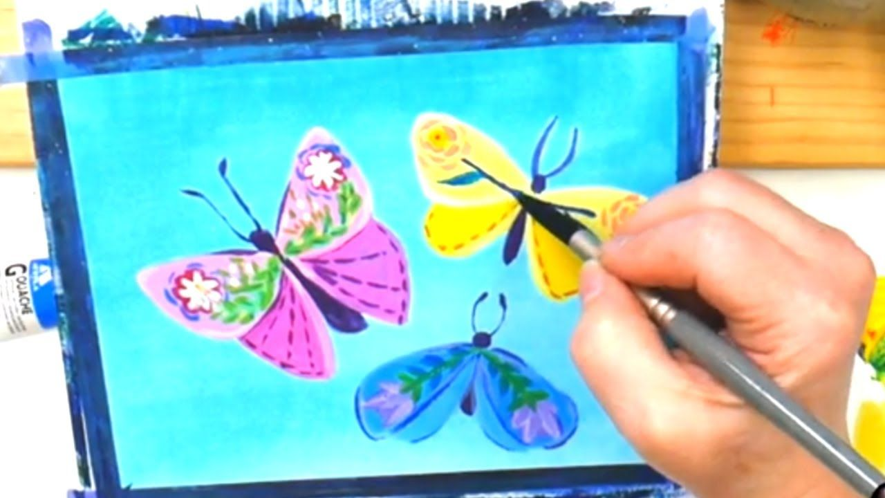 How to Paint Folk Art Butterflies – Paint With Me Acrylic April 5