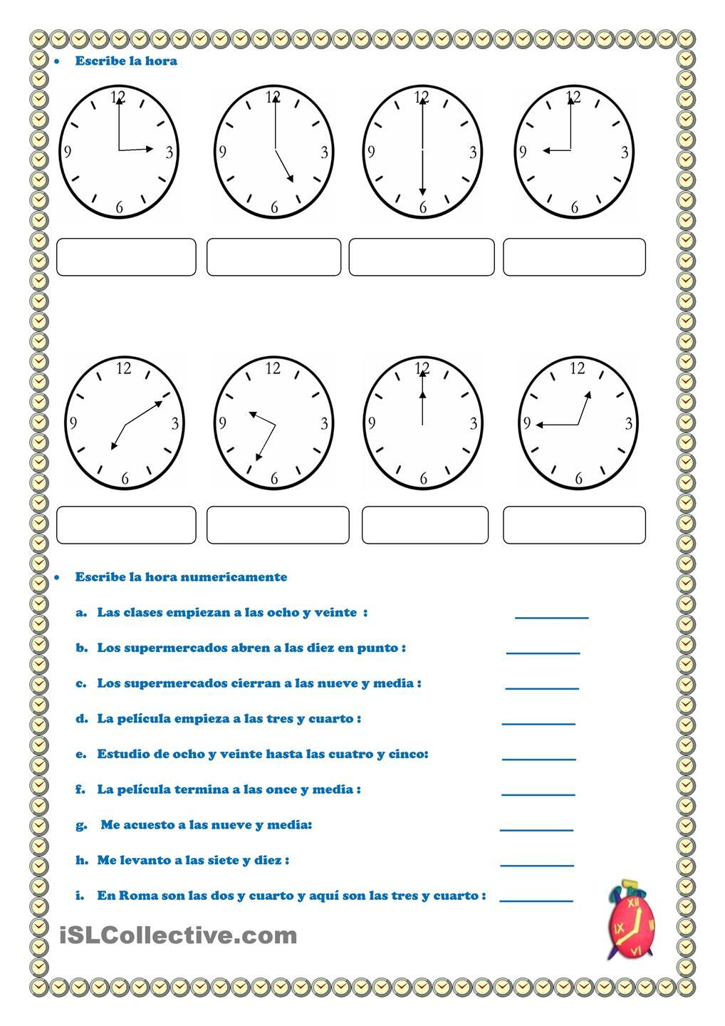 Worksheets La Hora Worksheet la hora fichas reloj pinterest teaching spanish and hora