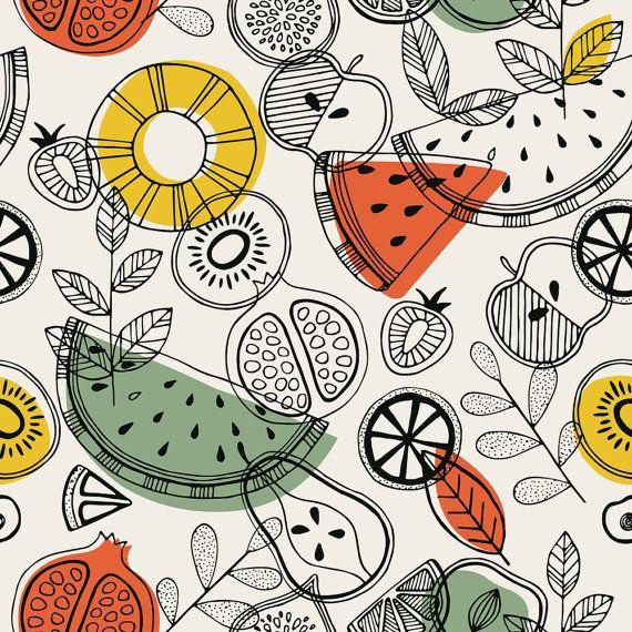 Scandi Fabric Scandinavian Fruits By Adehoidar Etsy Fruit Illustration Pattern Illustration Seamless Patterns