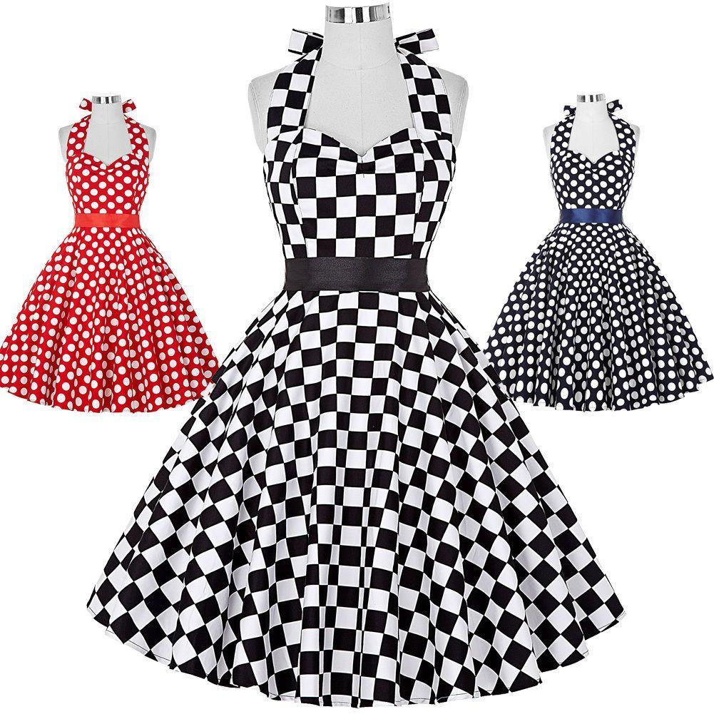 Us us vintage style prom cocktail tea swing dress polka dots