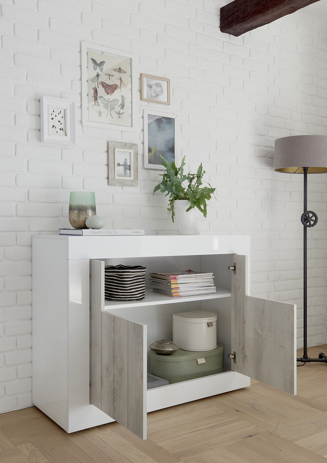 Photo of Soggiorno moderno completo con Porta TV, Madia e Libreria, finitura Bianco Lucid…