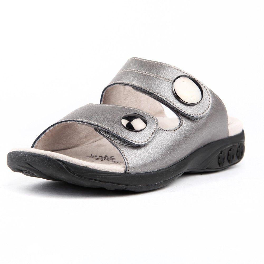 Leather Adjustable Strap Slip On Sandal