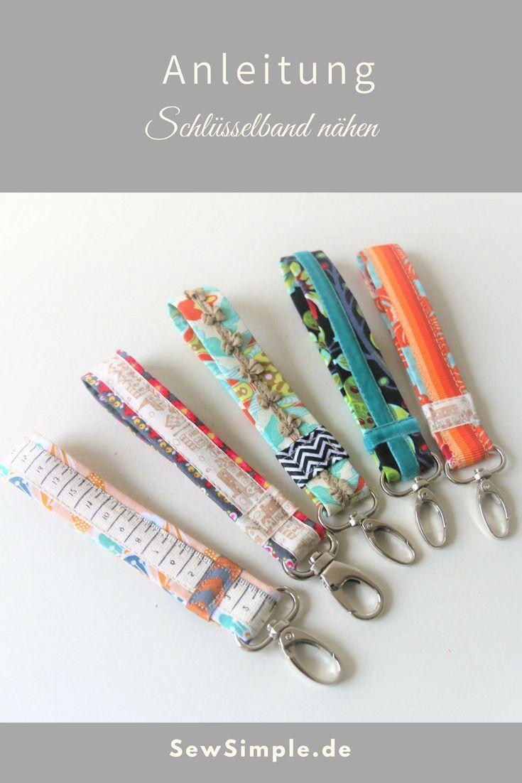 ᐅ Schlüsselanhänger nähen | Einfache Anleitung für ein Schlüsselband #strickenundnähen