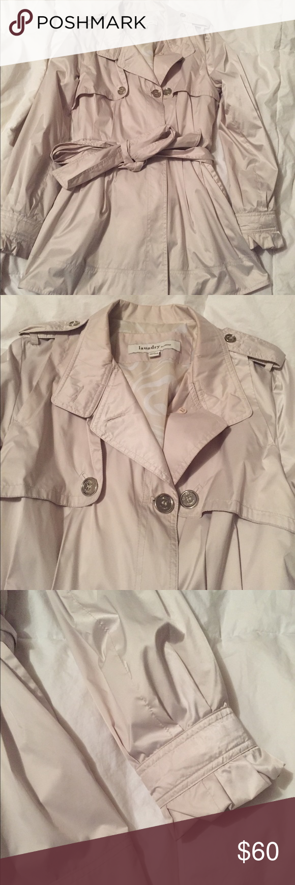 Laundry By Design Rain Coat Beautiful Laundry By Design Raincoat Cream Colored With Silver Buttons And Tie A Trench Coat Style Coat Fashion Short Trench Coat