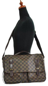 76688ff8fc0e Cross Body Business Damier Ebene Leather and Canvas Laptop Bag ...