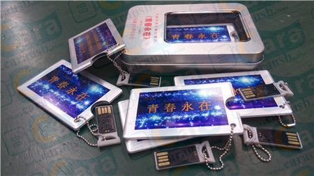 Youth Foever series colorful printing logo onto card USB Flash disk gift with tin packaging