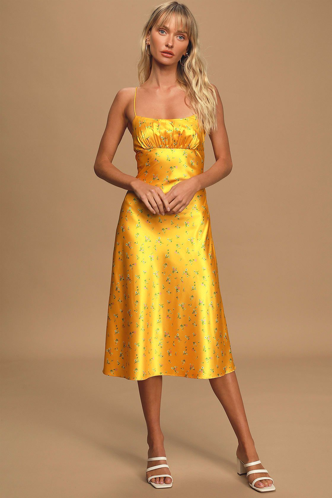 Rachel Yellow Floral Print Satin Midi Dress Satin Midi Dress Yellow Lace Dresses Satin Slip Dress [ 1680 x 1120 Pixel ]
