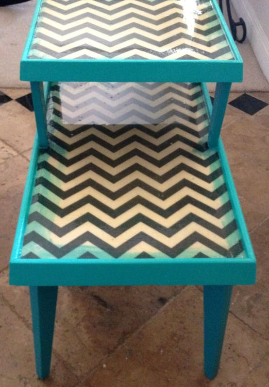 chevron painted furniture. Epoxy Resin Furniture Chevron Painted
