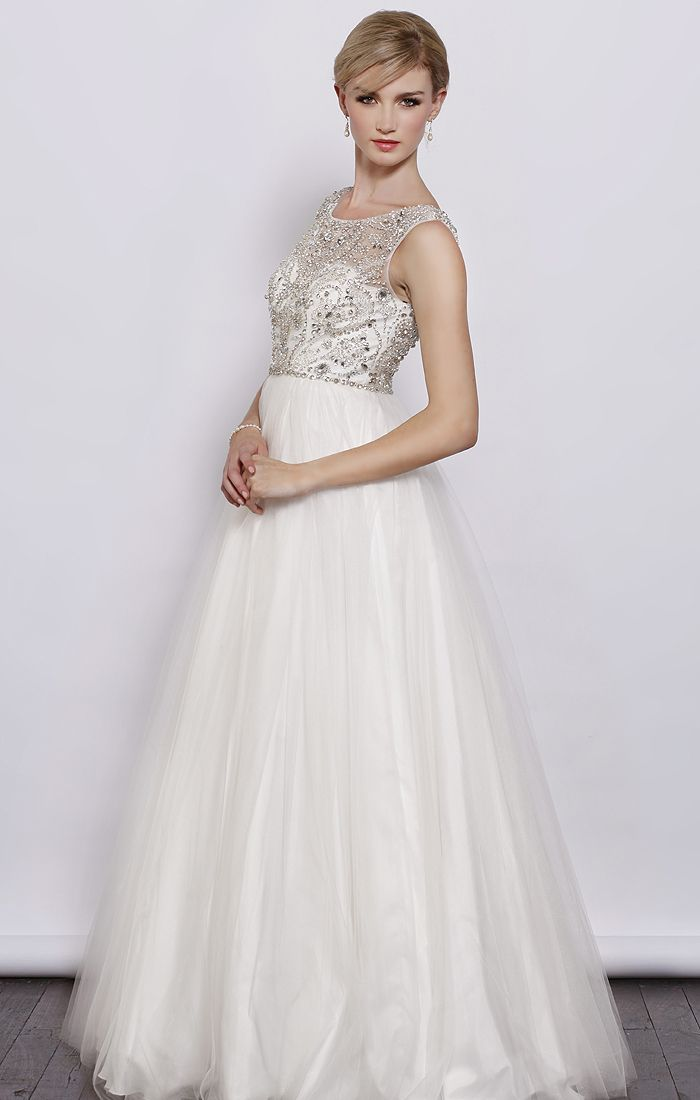 Round Neck Beaded Bodice Tulle A Line Skirt Dress