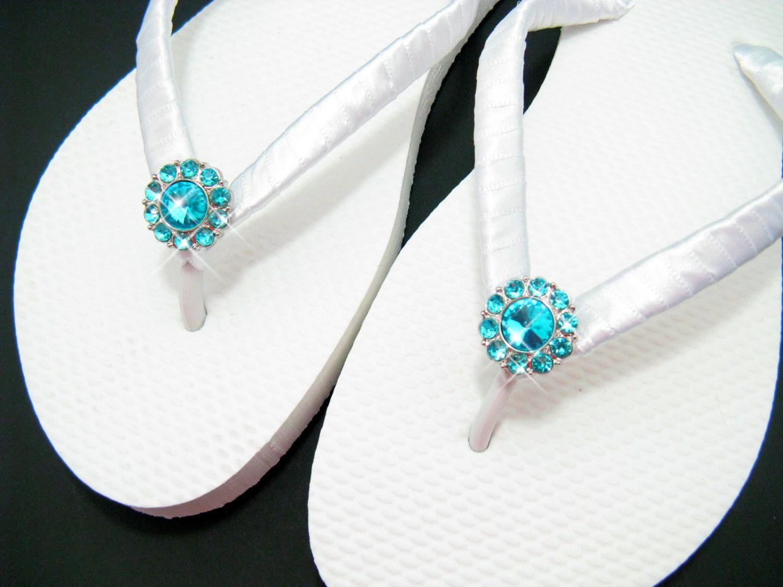 13d9f6fed71ce Bridal Flip Flops Bridesmaid Flip Flops Prom Shoe Wedding Flip Flops  Tiffany Blue Teal Rhinestone Beach Wedding Slippers Bride Shoes Sandals